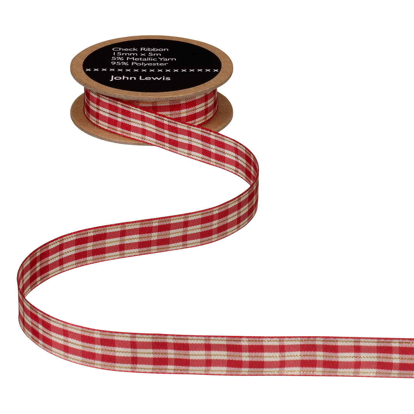 BuyJohn Lewis Check Ribbon, Red/Cream, 5m, 15mm Online at johnlewis.com