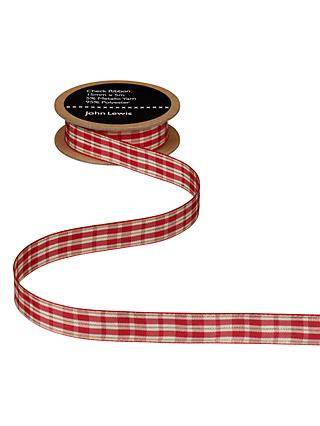 John Lewis & Partners Check Ribbon, Red/Cream, 5m