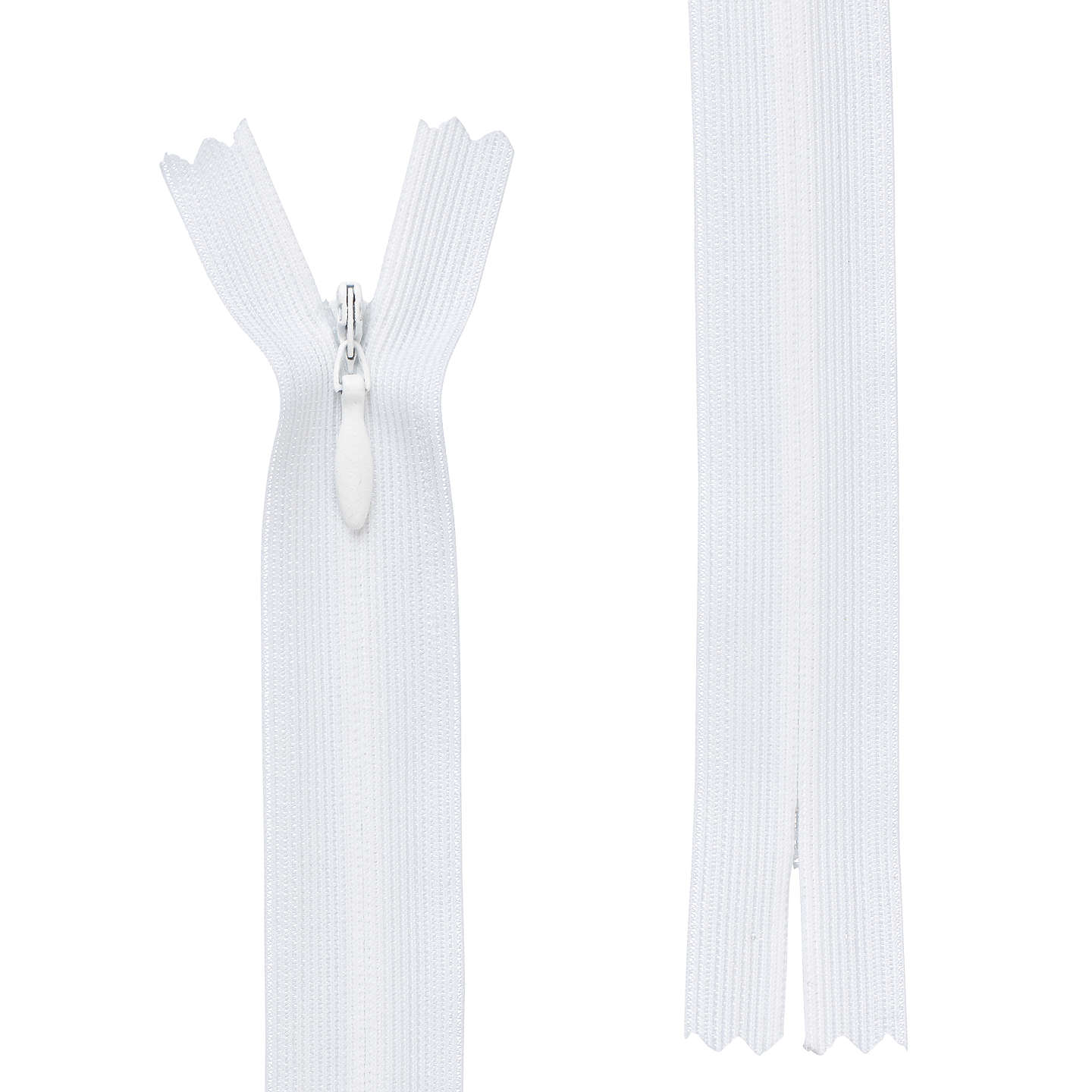BuyOpti Closed End General Purpose Light Fabric Concealed Zip, White, 18cm Online at johnlewis.com