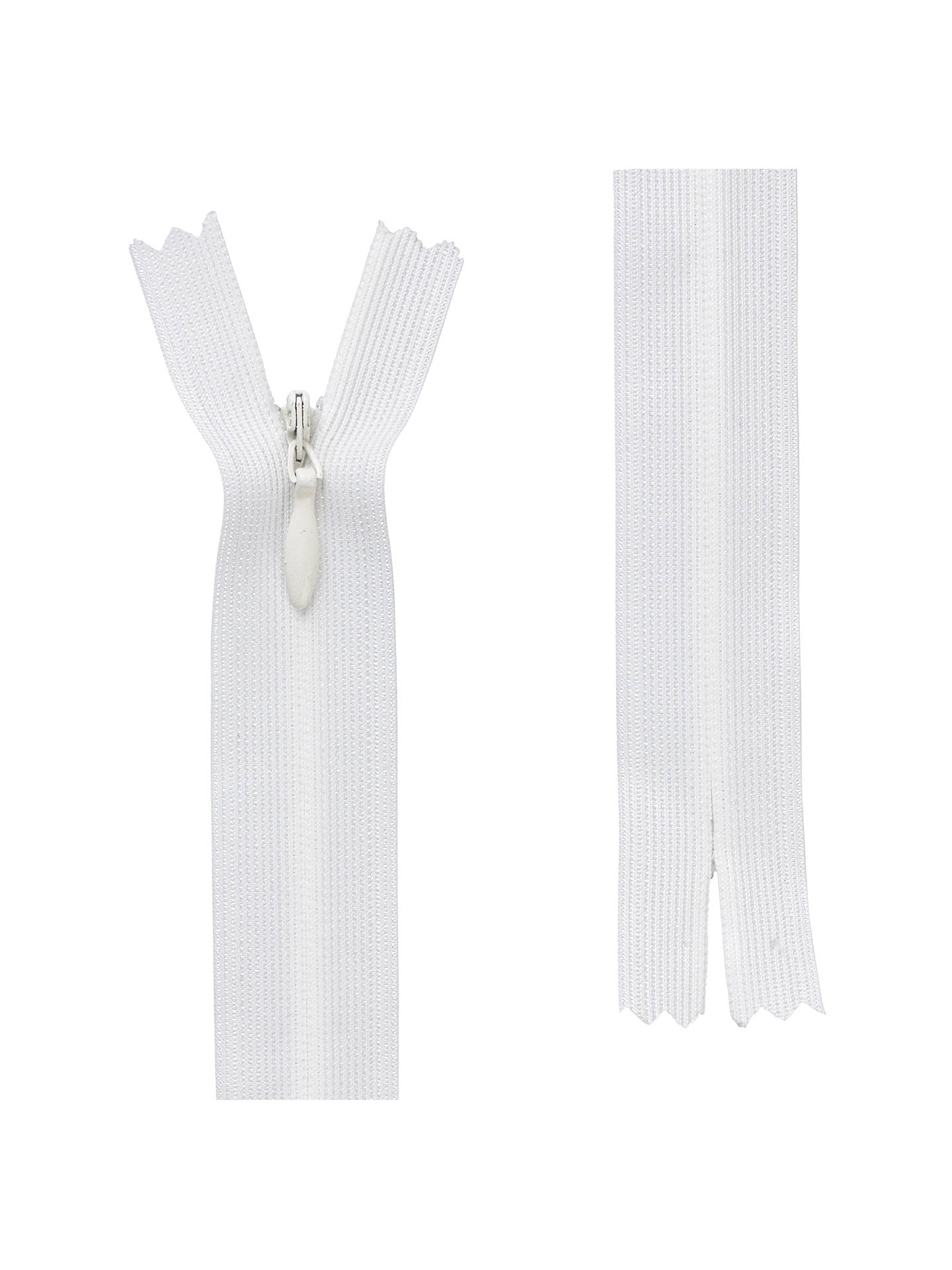 BuyOpti Closed End General Purpose Light Fabric Concealed Zip, Off White, 20cm Online at johnlewis.com