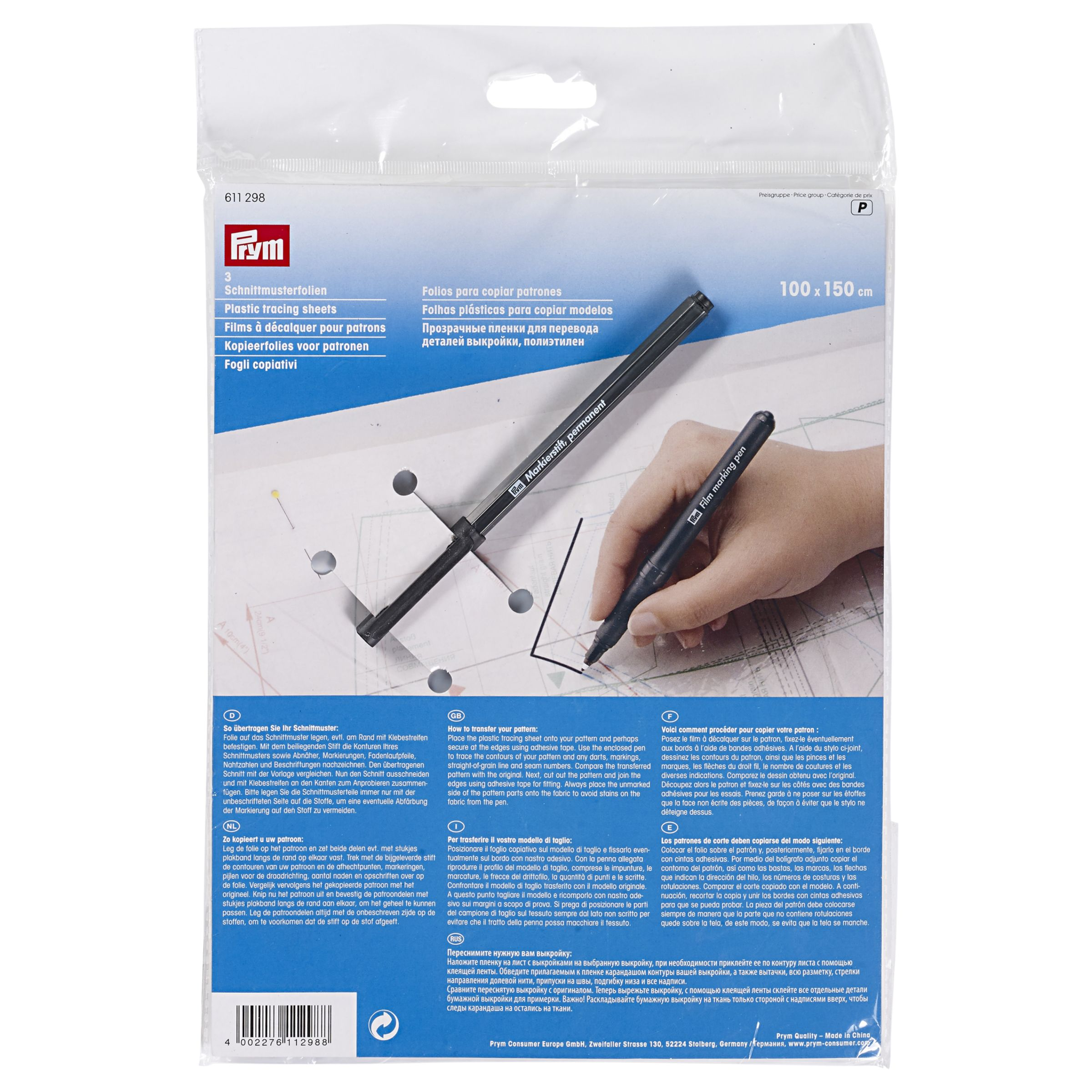 prym plastic tracing sheets with pen