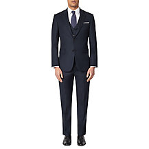John Lewis 3 Piece Regular Fit Birdseye Suit, Navy