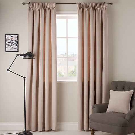 Buy John Lewis Cotton Rib Lined Pencil Pleat Curtains | John Lewis