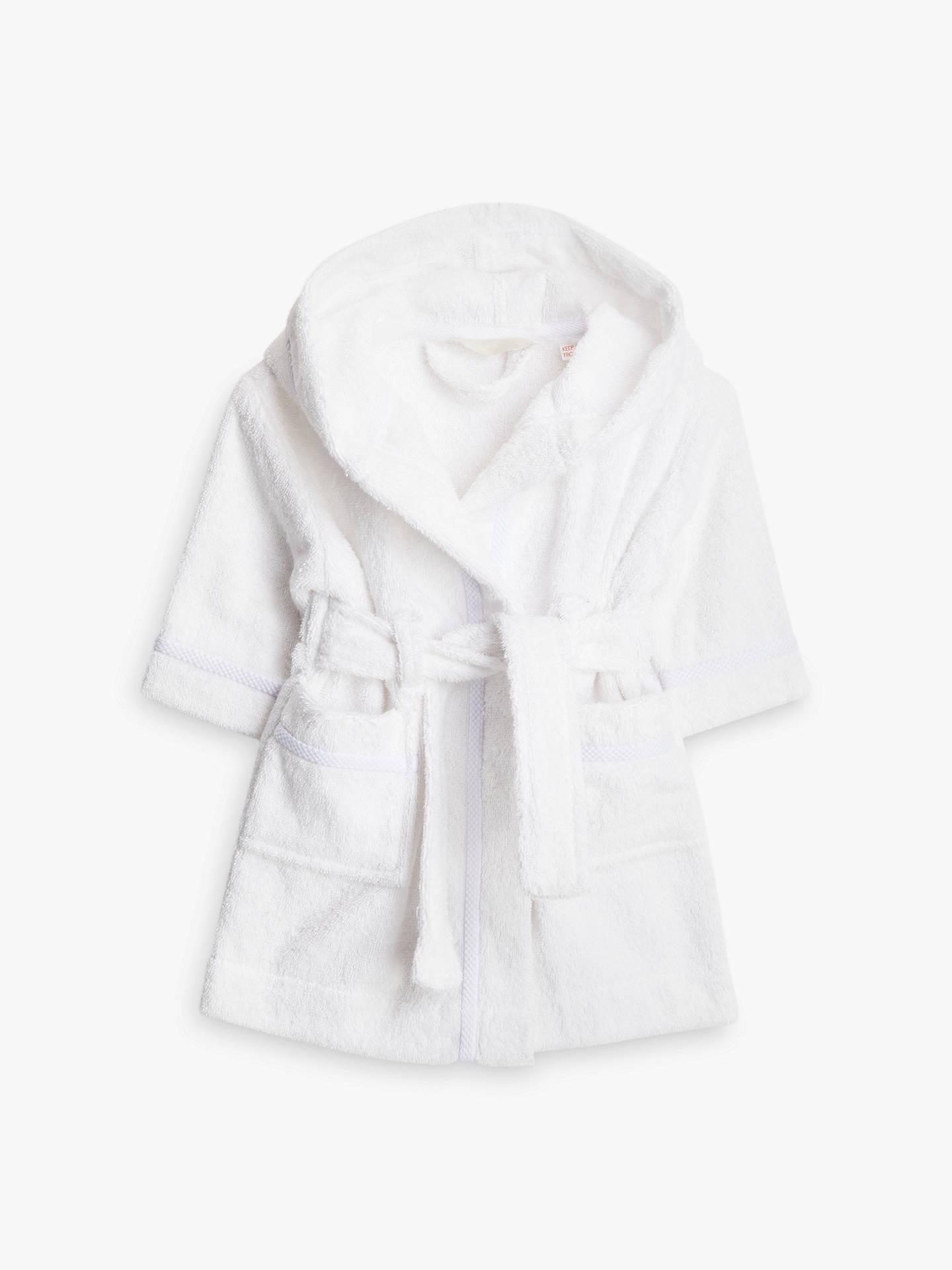 John Lewis Partners Baby Towelling Robe White At John Lewis