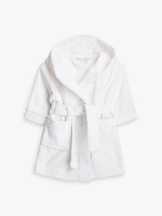 John Lewis & Partners Baby Towelling Robe, White