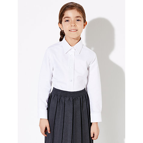 Girls School Uniforms French Toast has updated their Long Sleeve Peter Pan Collar Blouse. A beautiful classic button-down shirt. Pair it with any of our French Toast bottoms or jumpers. Made from fitted, stretch white cotton for comfortable wear Machine washable.
