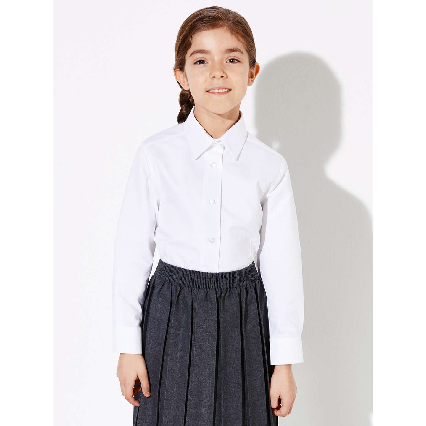 BuyJohn Lewis Girls' Long Sleeve Fitted Pure Cotton School Blouse, White, 4 years Online at johnlewis.com