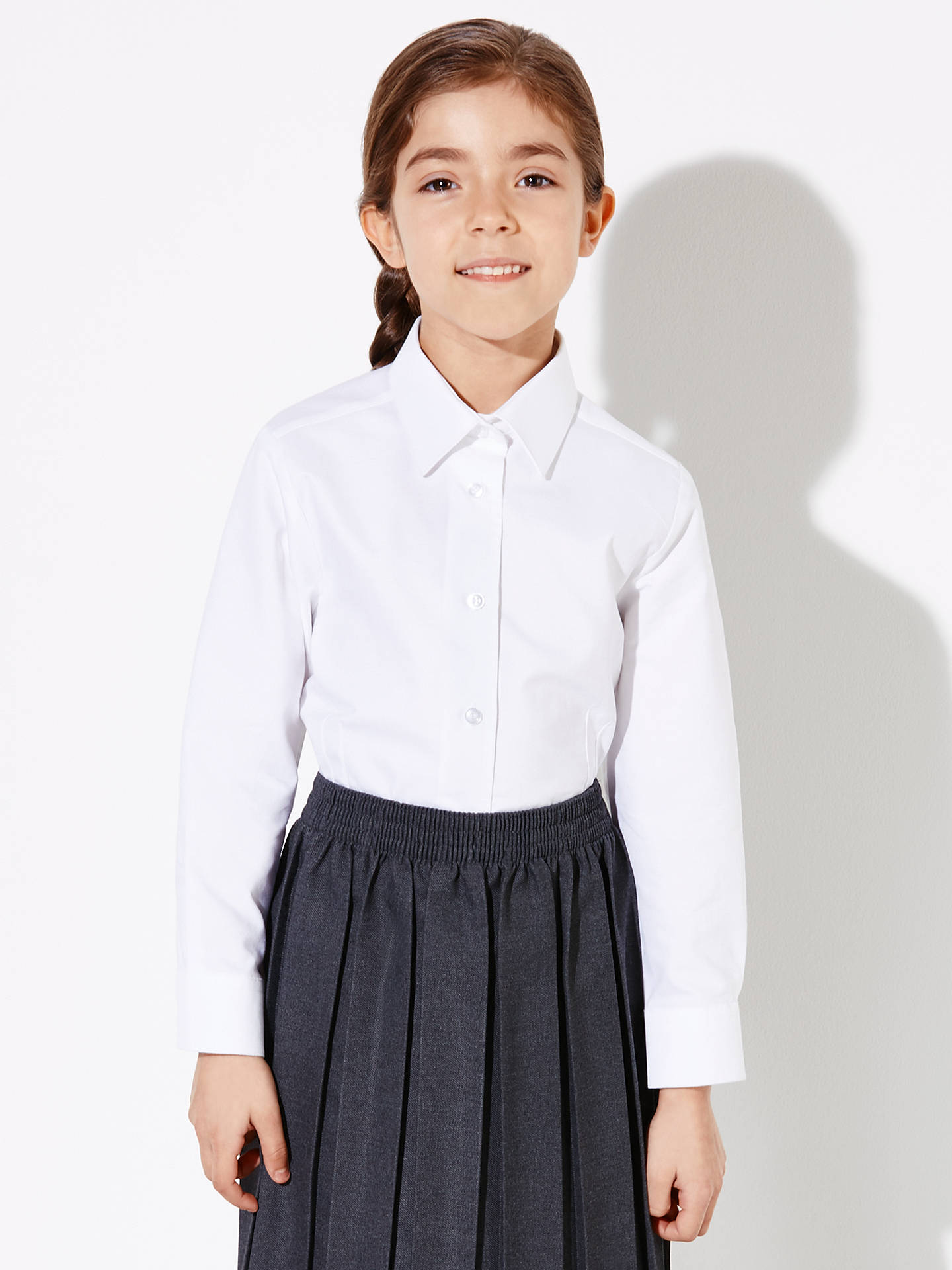 d3d5ea517 Buy John Lewis & Partners Girls' Long Sleeve Fitted Pure Cotton School  Blouse, White ...