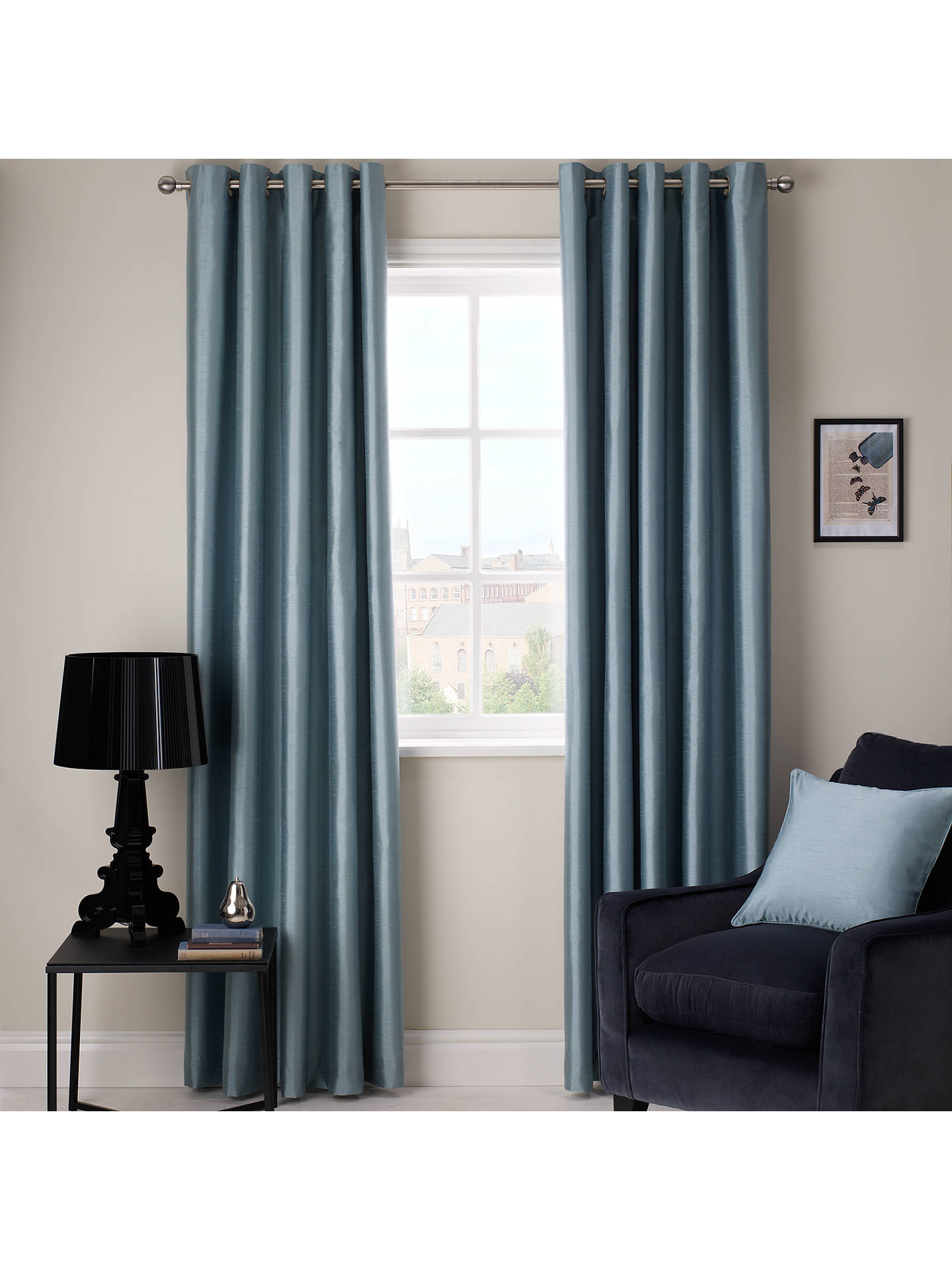 Buy John Lewis & Partners Faux Silk Pair Blackout Lined Eyelet Curtains, W167 x Drop 228cm Online at johnlewis.com