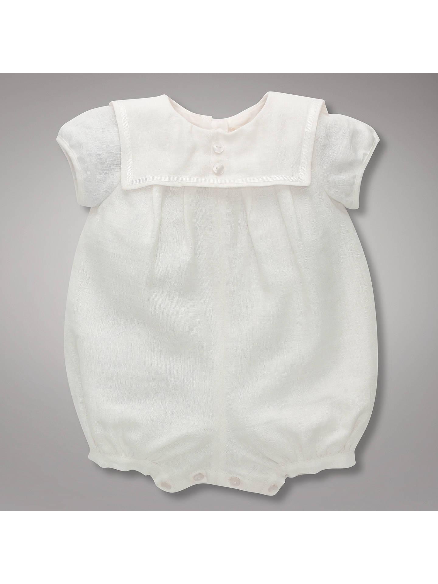 PLAIN CREAM COTTON BABY BOYS ROMPER CHRISTENING BAPTISM CLOTHES PLAIN SOFT
