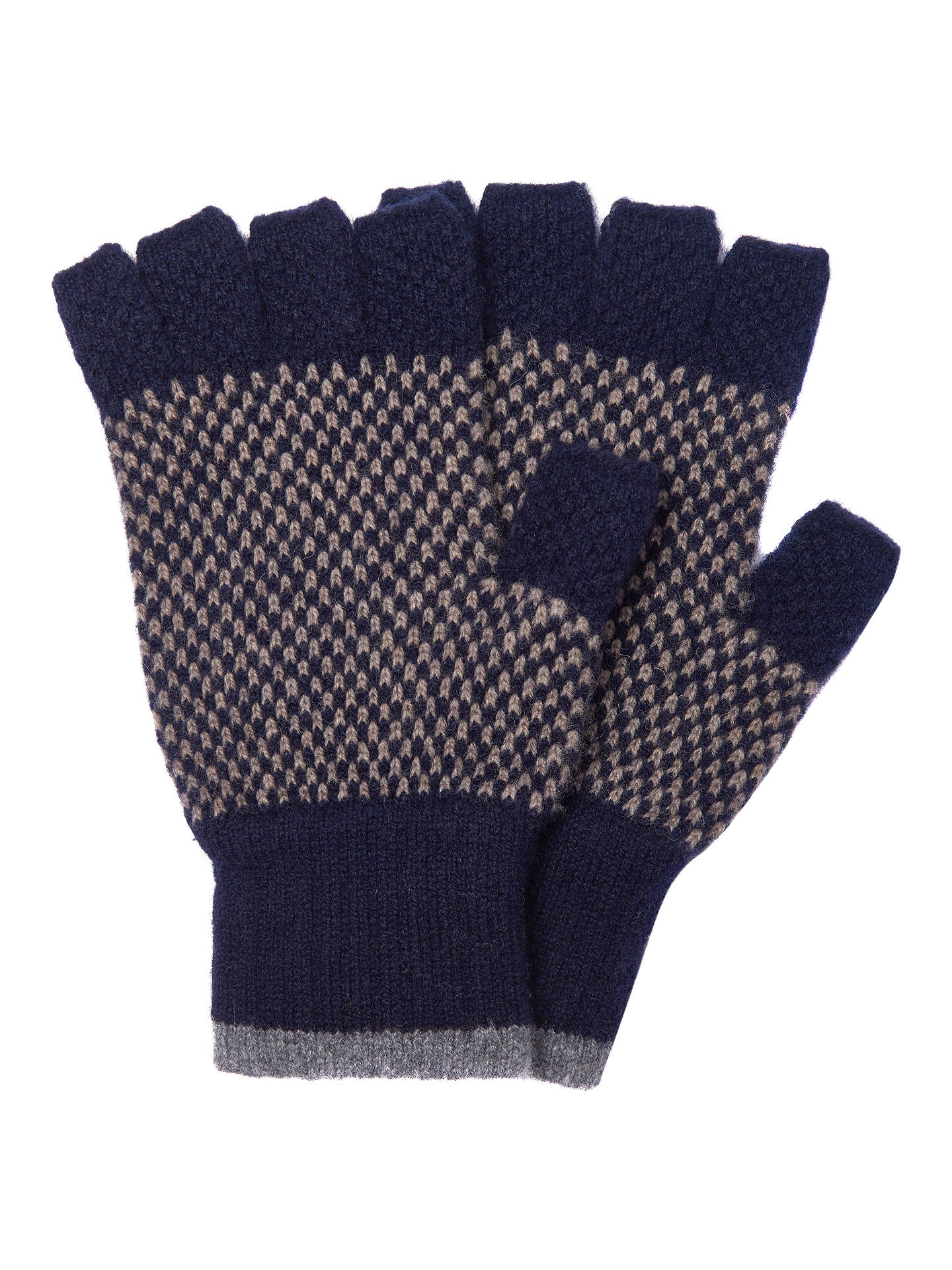 4cc73b2f565a2 Buy Barbour Brodie Check Lambswool Fingerless Gloves, Navy, S Online at  johnlewis.com