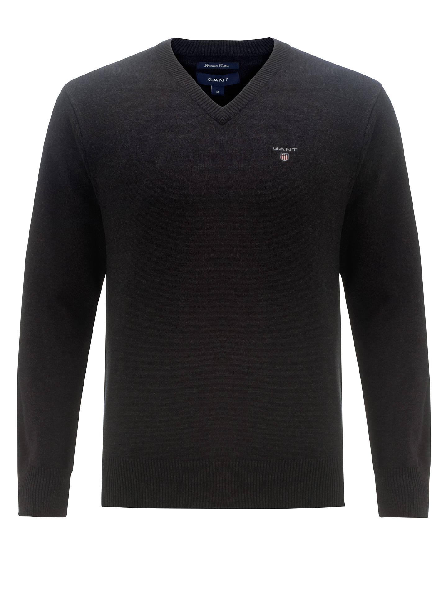 345f68bb948333 Buy Gant Solid Cotton V-Neck Jumper, Charcoal, M Online at johnlewis.