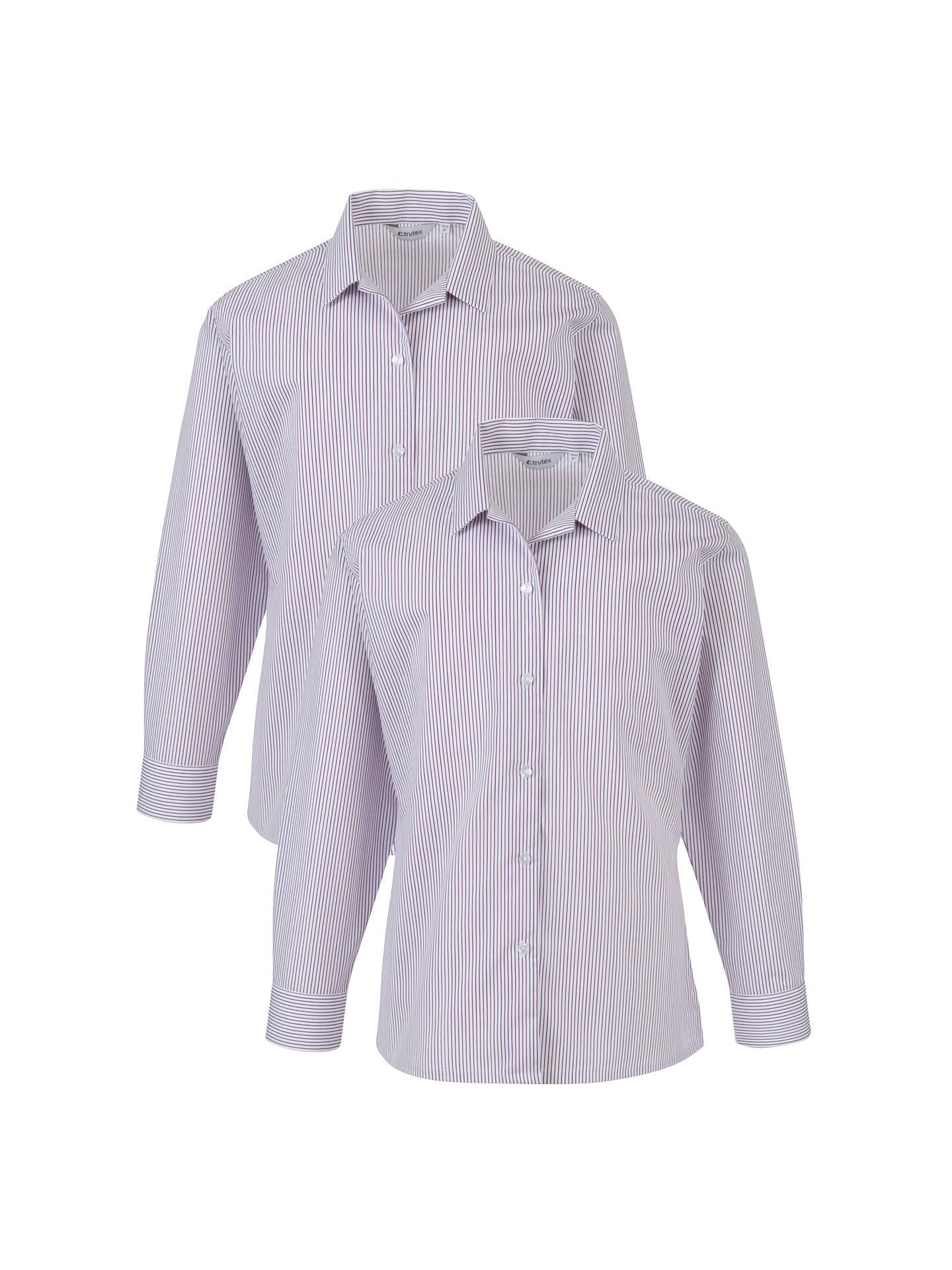 2 Pack Girls Ladies School Uniform Long Sleeve Revere Collar Shirt Blouse Office