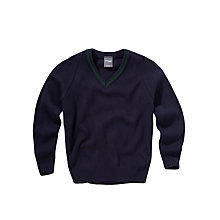 Buy Copthall School Girls' Trimmed Pullover, Navy/Green Online at johnlewis.com