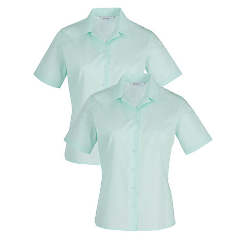 Buy Copthall School Short Sleeved Revere Collar Blouse, Pack of 2, Mint Online at johnlewis.com