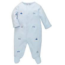Buy John Lewis Baby Embroidered Transport Sleepsuit, Blue Online at johnlewis.com