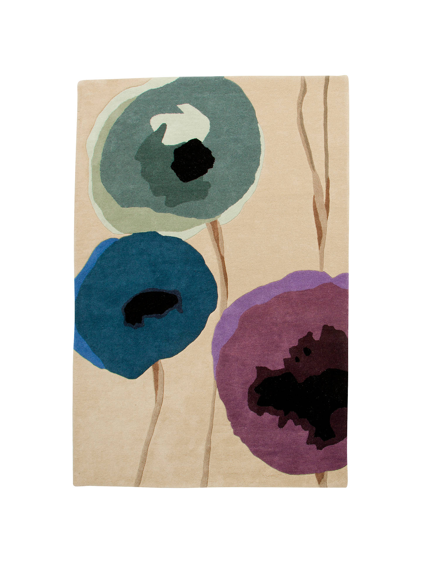 Buy Sanderson Poppies Rug, Purple, L280 x W200cm Online at johnlewis.com