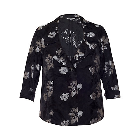 Buy Chesca Floral Printed Jacket, Black/Silver Online at johnlewis.com