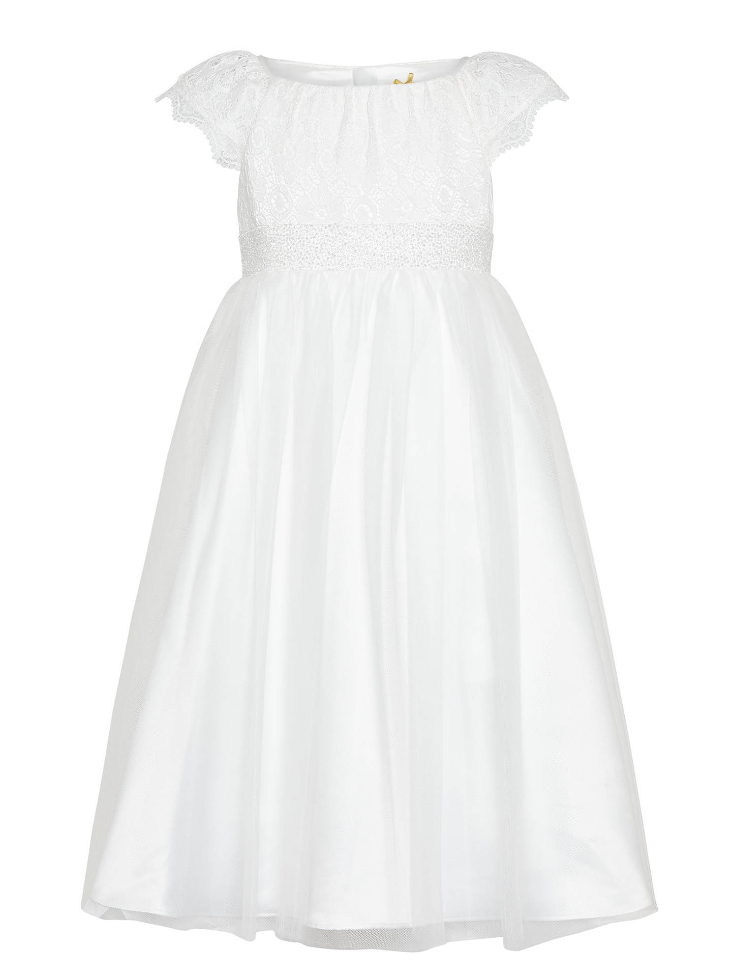 Buy John Lewis & Partners Girls' Lace Mesh Bridesmaid Dress, Ivory, 2 years Online at johnlewis.com