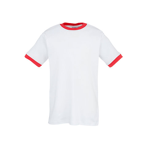 Buy School Unisex Gym T-Shirt with Trim, White/Red | John Lewis
