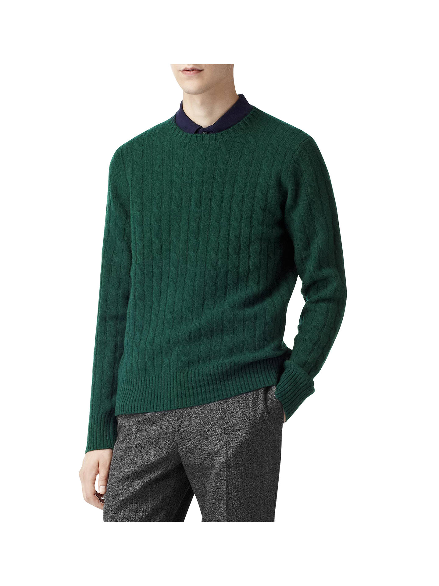 62fb7beb9e9 Reiss Buffalo Cable Lambswool Crew Neck Jumper | Dark Green at John ...