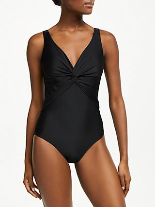 John Lewis & Partners Control Twist Front Swimsuit, Black
