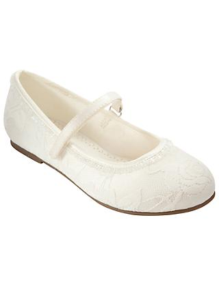 John Lewis & Partners Children's Lace Overlay Bridesmaids' Shoes, Ivory