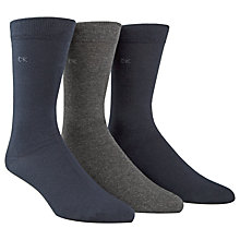 Buy Calvin Klein Flat Knit Cotton Mix Socks, Pack of 3, One Size, Navy/Grey/Black Online at johnlewis.com