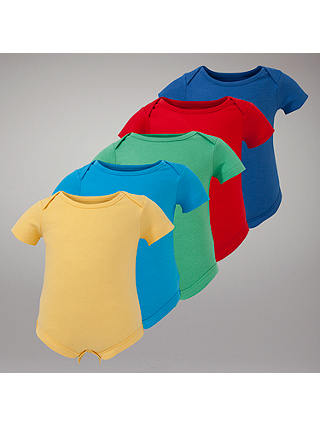 Buy John Lewis Baby Bodysuits, Pack of 5, Multi, 3-6 mths Online at johnlewis.com