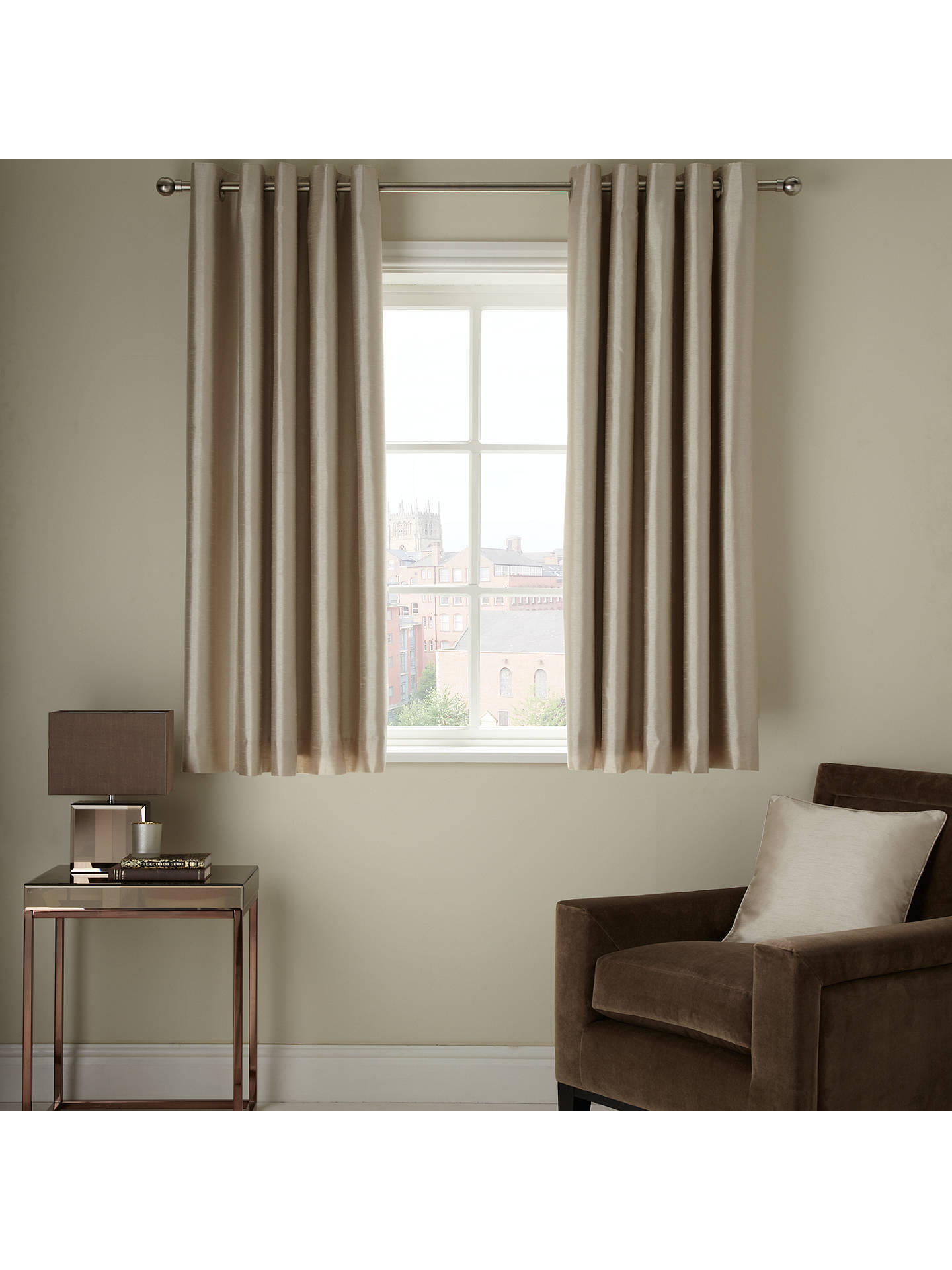 BuyJohn Lewis & Partners Faux Silk Pair Blackout Lined Eyelet Curtains, Champagne, W167 x Drop 137cm Online at johnlewis.com