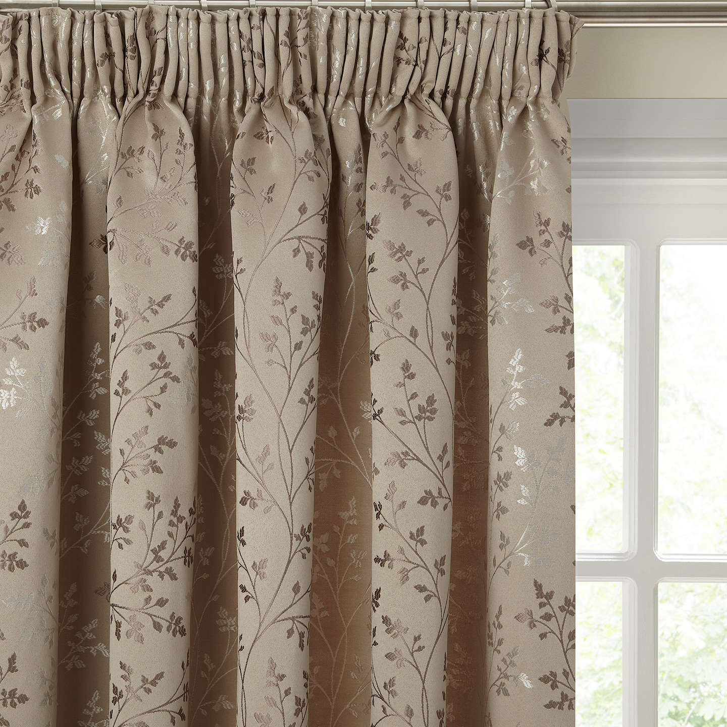 BuyJohn Lewis Botanical Field Pair Lined Pencil Pleat Curtains Mocha W164 X Drop 136cm