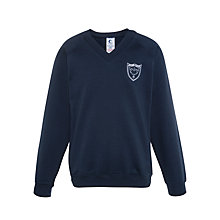 Buy Holme Court School Unisex V-Neck Jumper, Navy Online at johnlewis.com