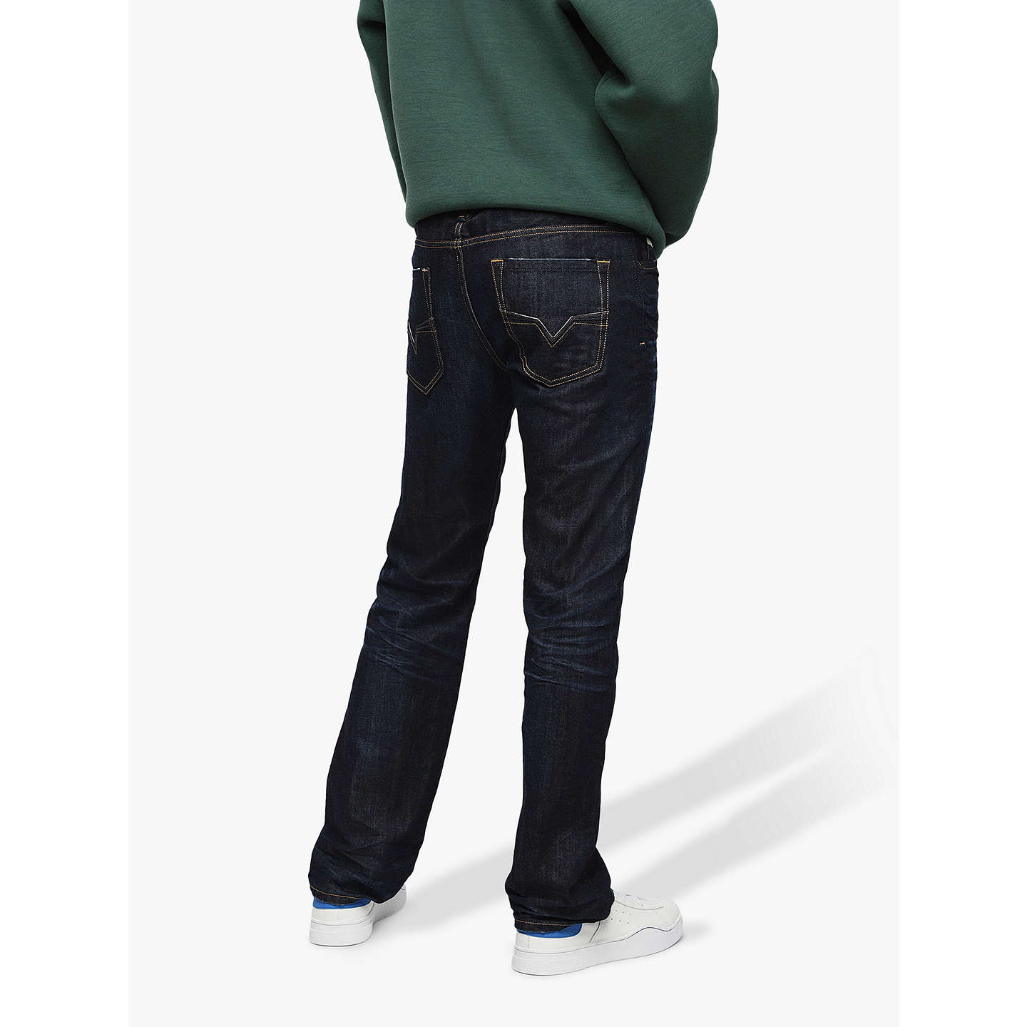 BuyDiesel Larkee Straight Jeans, Mid Wash 806W, 32S Online at johnlewis.com  ...