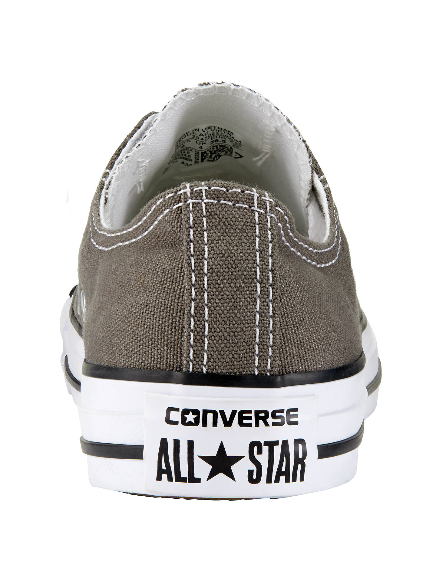 BuyConverse Chuck Taylor All Star Canvas Ox Low-Top Trainers, Charcoal, 3 Online at johnlewis.com