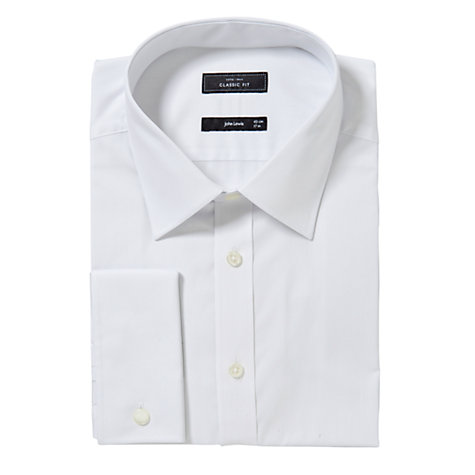 Buy John Lewis XL Sleeves Cotton Double Cuff Regular Fit Shirt, White Online at johnlewis.com