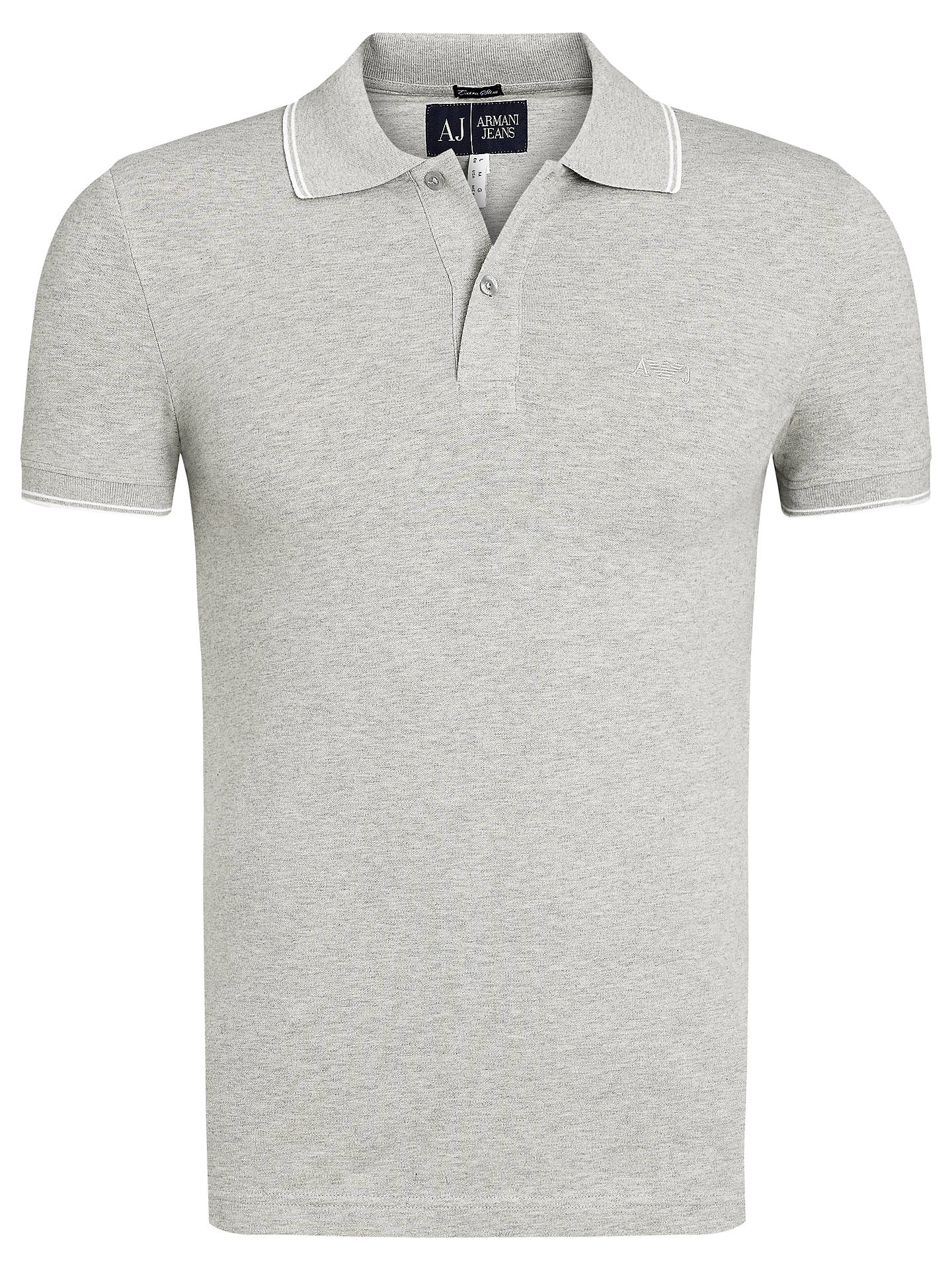 4bf87526 Buy Armani Jeans Tipped Collar Polo Shirt, Grey, XXL Online at  johnlewis.com ...