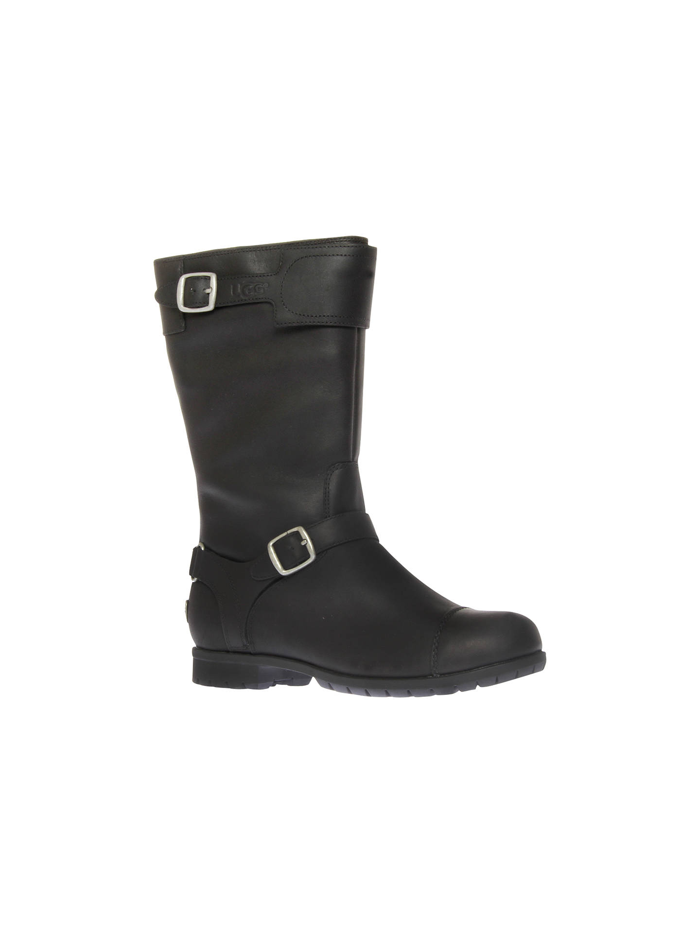 197ba5989f2 UGG Gershwin Leather Buckled Boots, Black at John Lewis & Partners