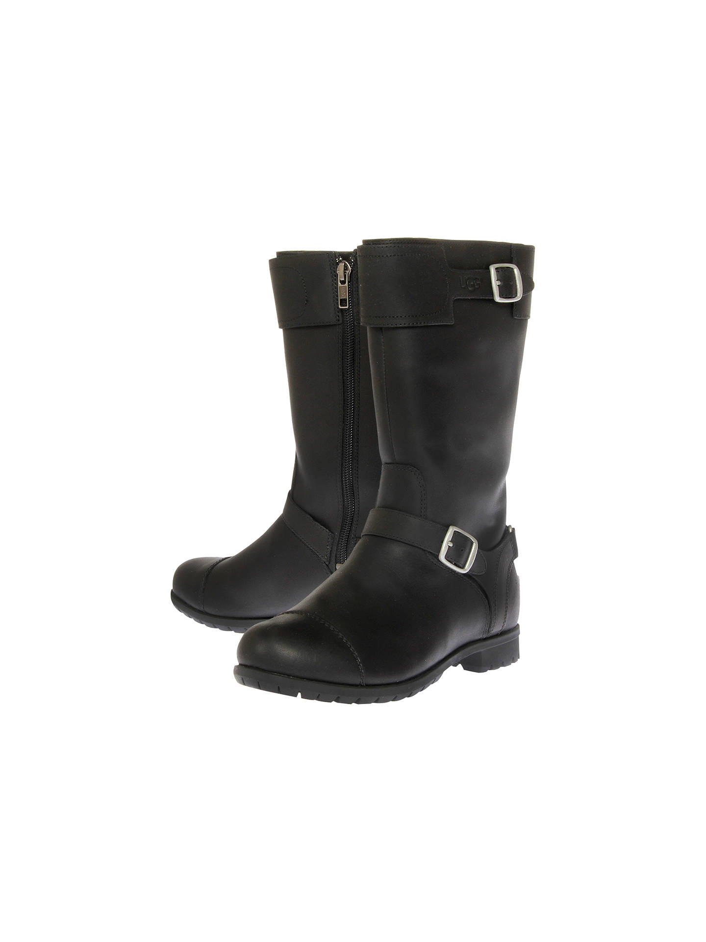 715bedab469 UGG Gershwin Leather Buckled Boots, Black at John Lewis & Partners
