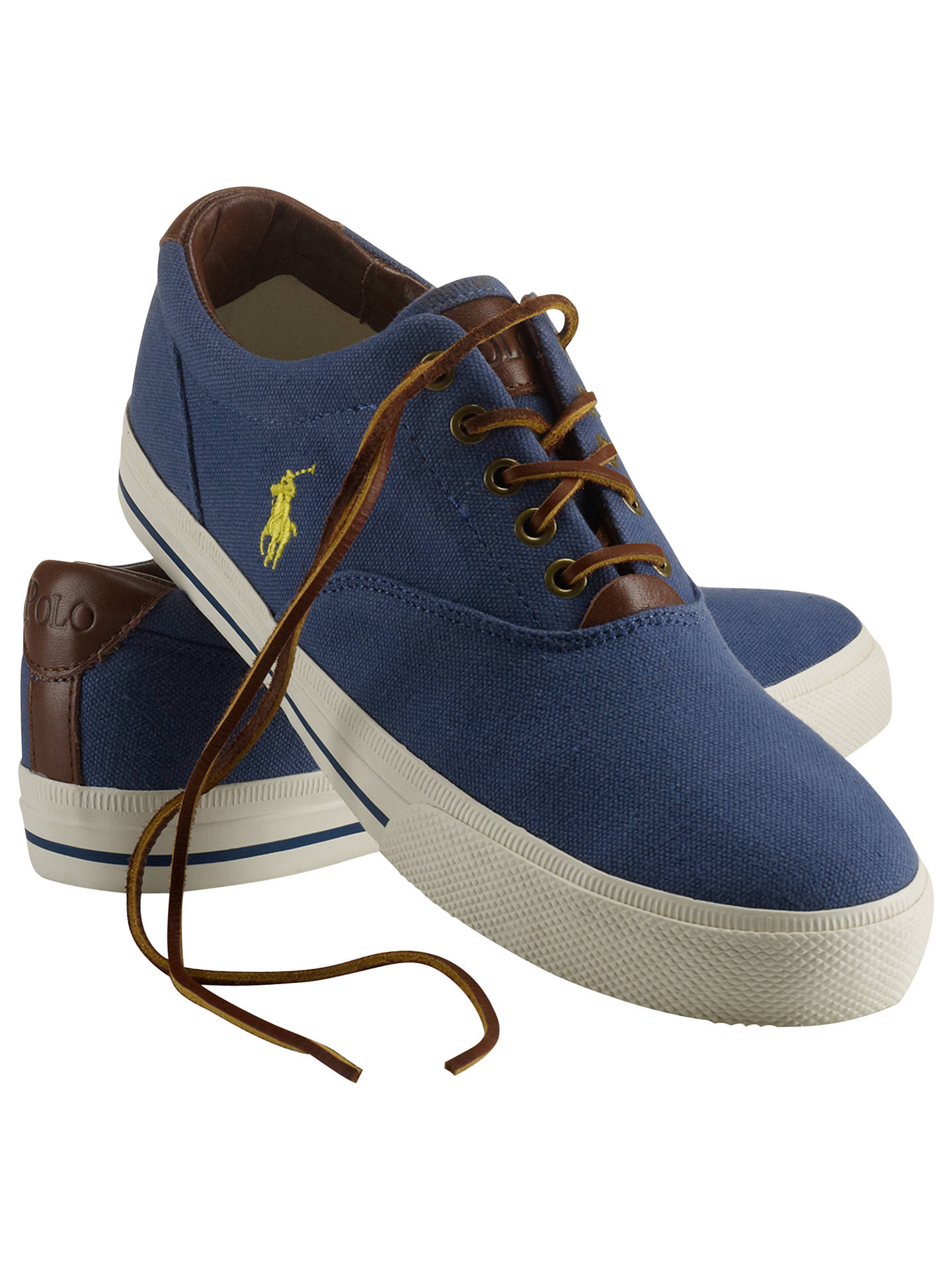 0867cf715c Polo Ralph Lauren Vaughn Canvas and Leather Trainers, Aviator Navy ...