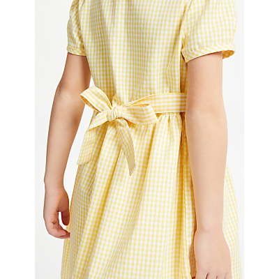 Product photo of John lewis school belted gingham checked summer dress yellow