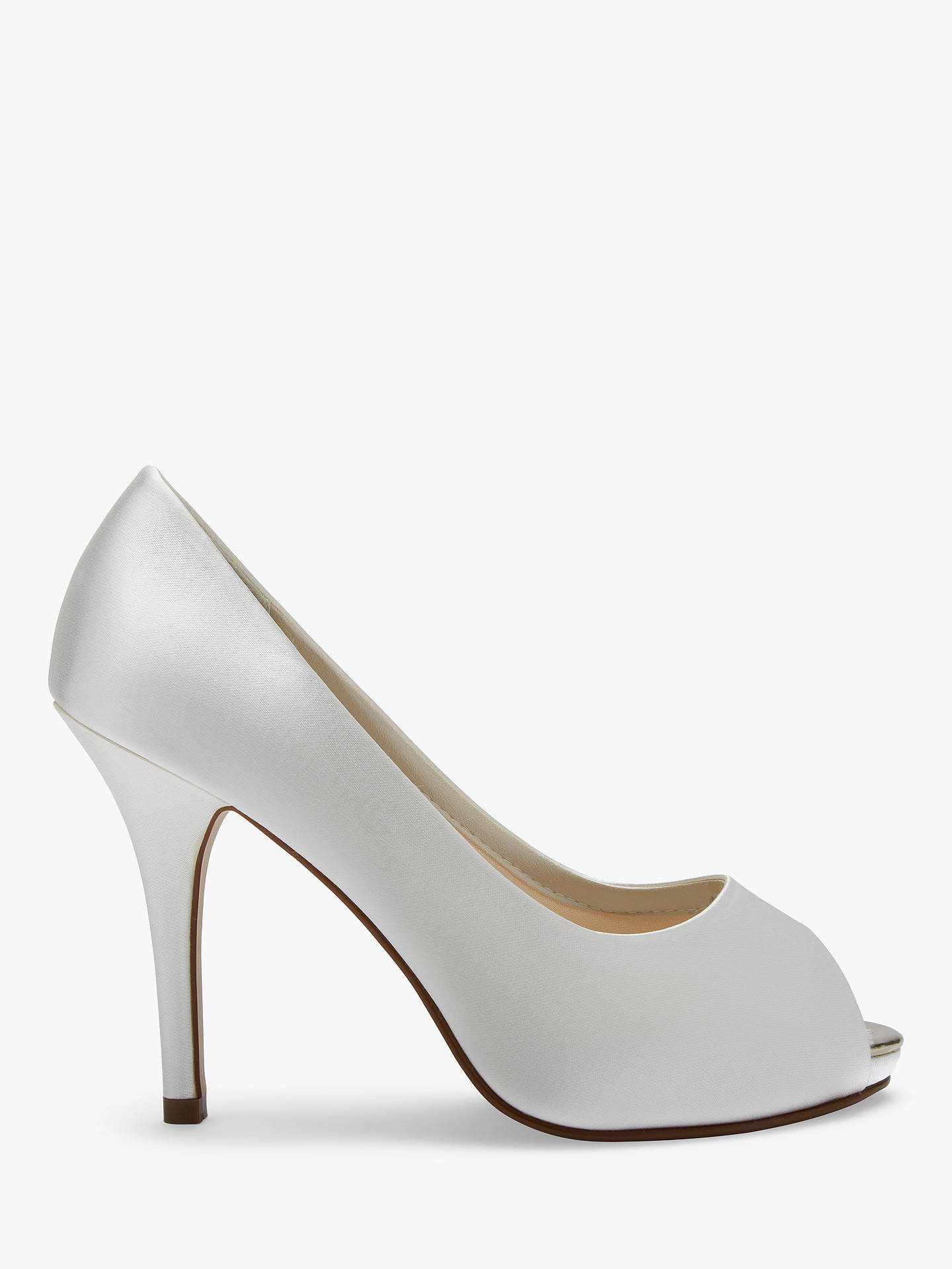 BuyRainbow Club Jennifer Satin Platform Peep-Toe Court Shoes, Ivory, 2 Online at johnlewis.com