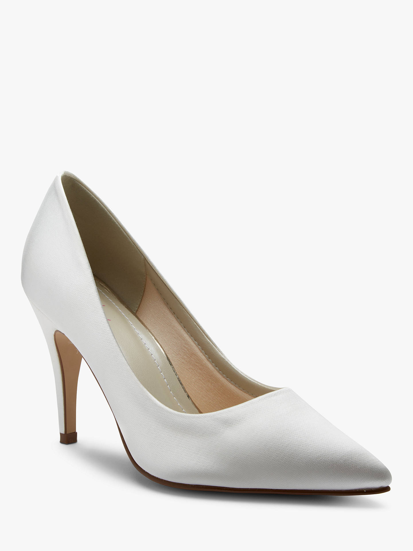 BuyRainbow Club Vivian Satin Point Toe Court Shoes, Ivory, 3 Online at johnlewis.com