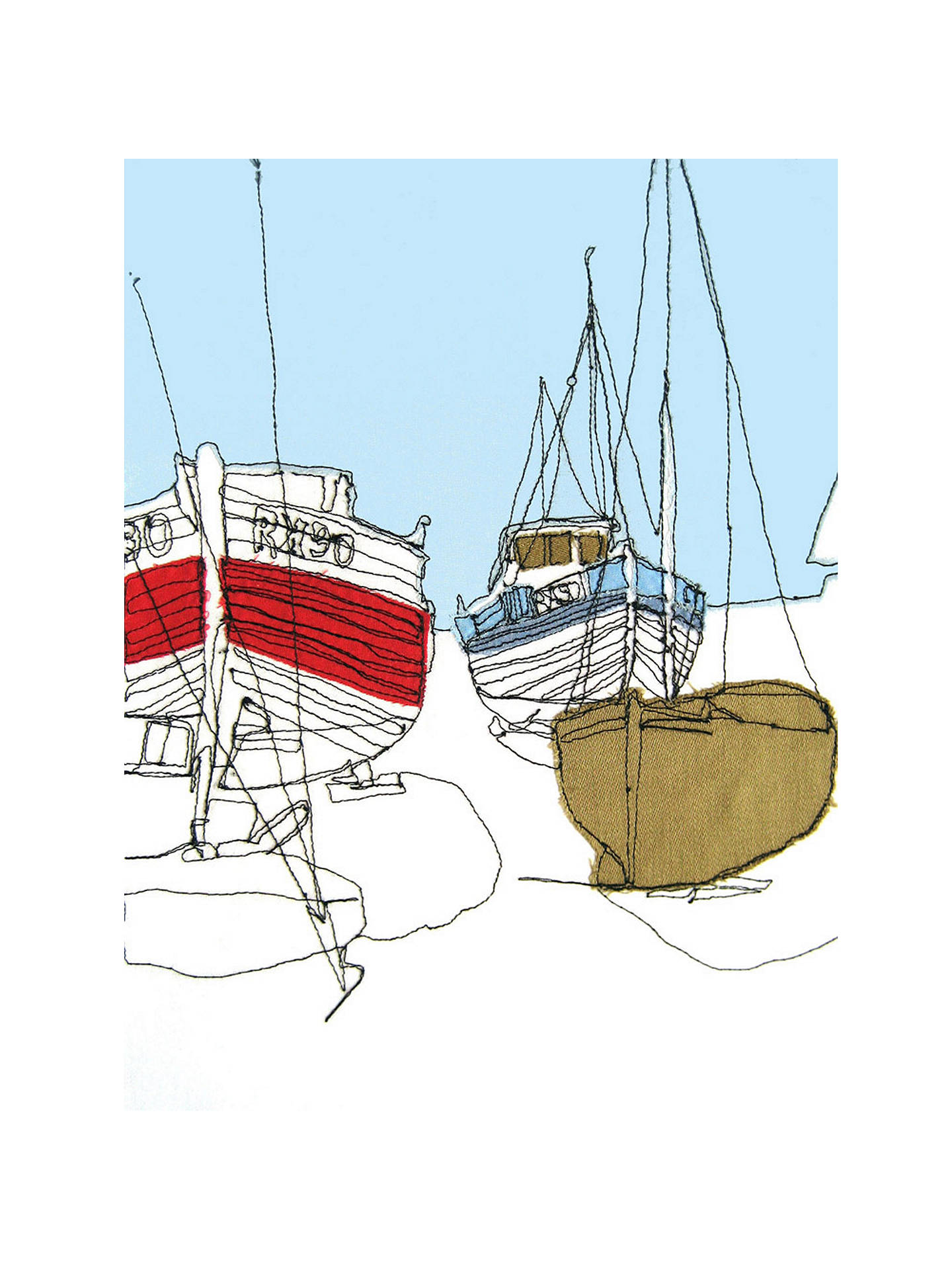 Buy Gillian Bates - Boats on the Shore, Stretched Canvas, 40 x 50cm Online at johnlewis.com