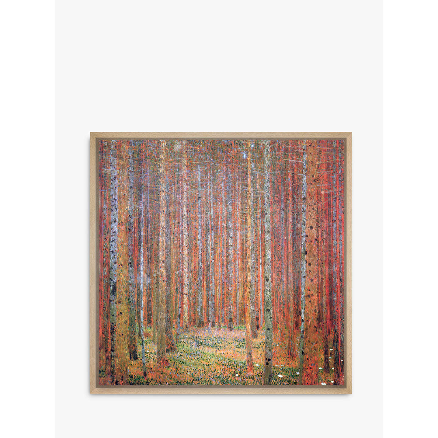 BuyGustav Klimt - Tannenwald 1, Natural Ash Framed Canvas, 110 x 110cm Online at johnlewis.com