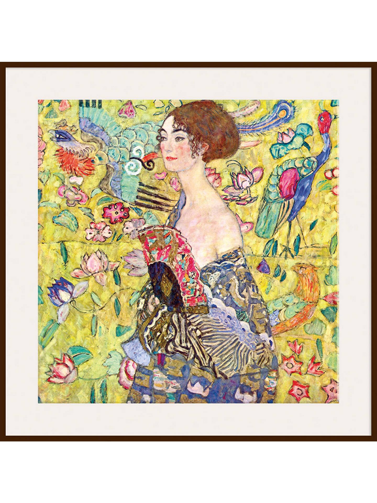 BuyGustav Klimt - Lady with Fan, Dark Brown Framed Print, 90 x 90cm Online  ...