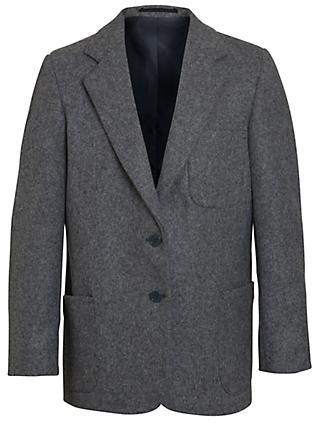 Girls' School Wool Blazer, Grey
