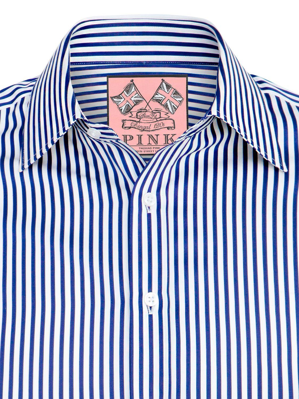 46d4a8df Thomas Pink Algernon Stripe Shirt, Navy/White at John Lewis & Partners