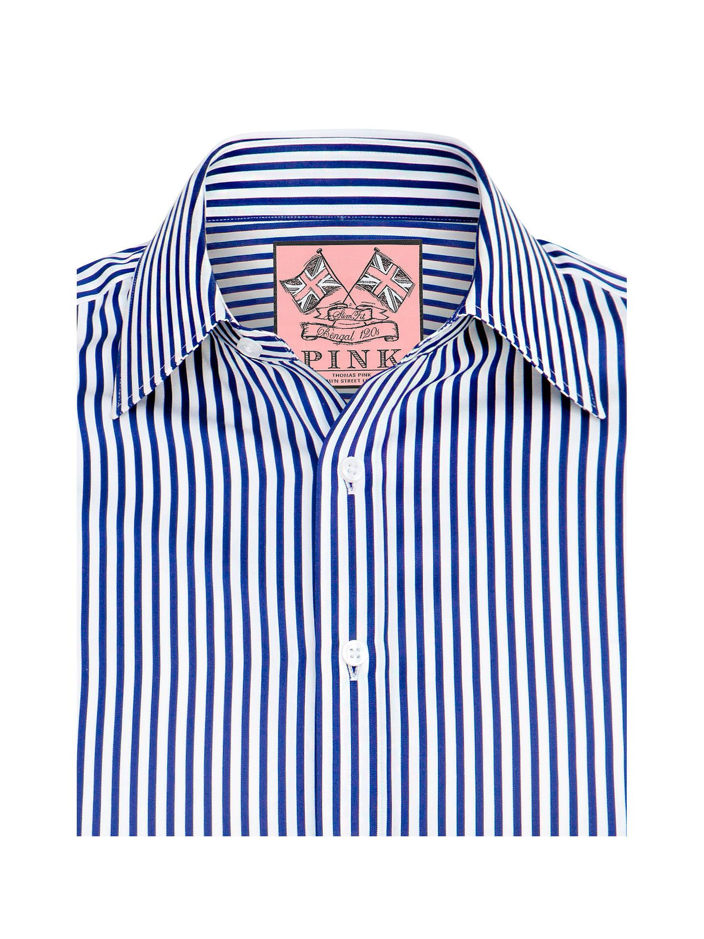 a1c93341 Buy Thomas Pink Algernon Stripe Shirt, Navy/White, 14 Online at johnlewis.
