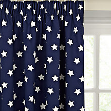 Buy little home at John Lewis Glow in the Dark Star Blackout Lined Pencil Pleat Children's Curtains, Navy Online at johnlewis.com