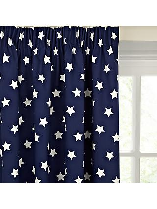 little home at John Lewis Glow in the Dark Star Pair Blackout Lined Pencil Pleat Children's Curtains, Navy